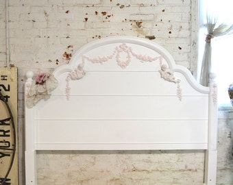 Painted Cottage Shabby Chic Romantic French Queen / Full Headboard Bed BD730