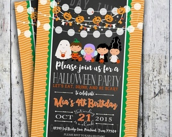 Halloween Invitations - Adult or Child DIY Printable Party Invite - Receive within 24 hours - Printed invites also available
