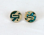1960s cufflinks silver turquoise Alpaca Mexican silver abstract modernistic
