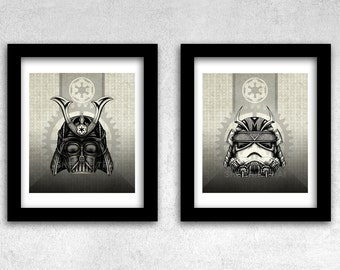 Star Wars Art Prints, Vintage Steampunk Samurai Style, Vader and Stormtrooper, Set of 2