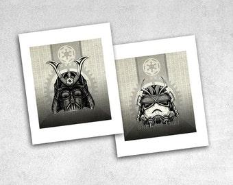 Star Wars Art Prints, Vintage Steampunk Samurai Original Design, Vader and Stormtrooper, 5x7 Set of 2
