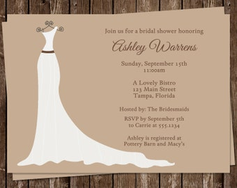 Bridal Shower Invitations, Wedding, Dress, Tan, White, Set of 10 Printed Cards, FREE Shipping, SGACB, Simple Gown Chocolate