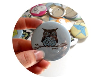 Cute Owl on a Branch  Pin back Button in blue or custom colors