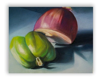 Original Pastel Drawing of Still Objects, Red Onion and Green Bell Pepper, Kitchen Decor, Rives BFK Paper, 17''x15''
