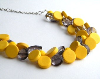 Yellow and Gray Necklace, Statement Necklace, Bridesmaid Necklace, Yellow and Gray Wedding, Wire Crochet