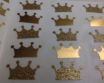 25 pc  Golden Paper Crown Stickers     Party  Wedding  Bridal Shower