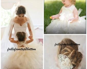 Ivory Flower Girl Dress . Tutu Skirt . Halter Top w/ Lace straps . Sizes 12mo - 5T