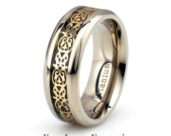 Mens Titanium Wedding Band, Aztec Ring, Mens Wedding Band, Mens Titanium Ring, 8mm Mens ring, Personalized Ring, Custom Engraved Band