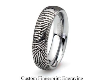 Fingerprint Tungsten Wedding Band,Tungsten Wedding Ring,Fingerprint Ring,Mens Women's fingerprint Band Fingerprint Jewelry Custom Engraving