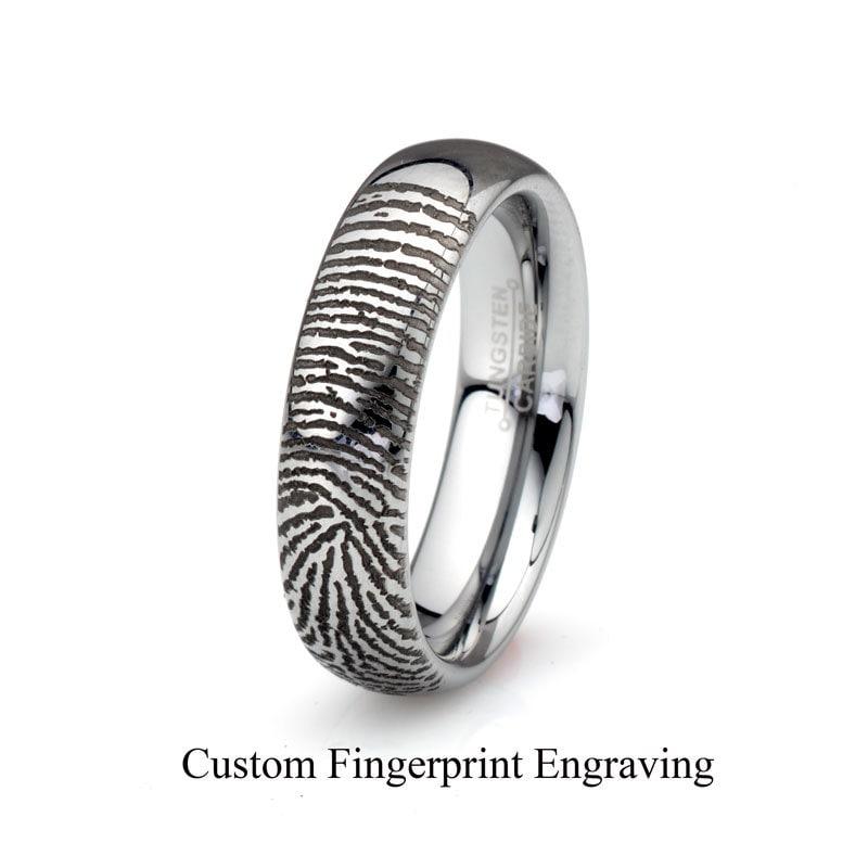 Fingerprint Tungsten Wedding BandTungsten Wedding
