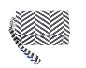 Gray and White Chevron Cell Phone Wristlet Wallet - iPhone Wallet - Phone Wristlet Wallet - Gray Phone Pouch - Trifold Wallet - Phone Clutch