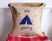 SALE - SHIPS IMMEDIATELY Burlap (hessian) Star Gazing camping camp pillow cover