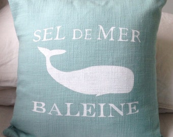 READY TO SHIP Aqua sea foam cotton (linen look) pillow cover cushion cover  French Whale Baleine