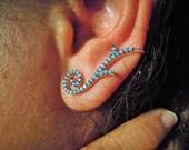 Ear cuff jacket - ear jacket - silver pair ear cuff - Jewelry - spike ear cuff - cuff earrings - valentine gift for her - girlfirend gift