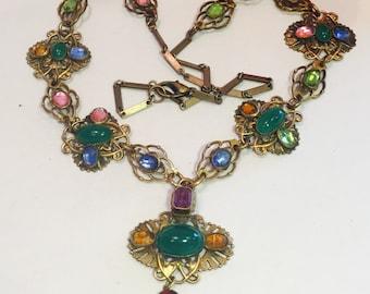 Art Nouveau Art Deco Czech Multi Color Crystal Ca  Antique Vintage Necklace Singed