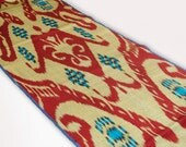 ikat fabric, by the yards, ikat, golden red turqouse ikat fabric, table runner, upholstery, golden, red, ethnic, textile, uzbekistan, home