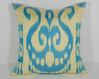 15x15 ikat pillow cover, cushion case, blue cream pillow, cream blue pillow, pillowcase cuscino ikat samt kissen coussin oreiller cojin ikat