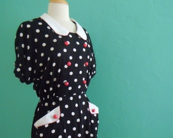 vintage 80's black and white polka dot dress // black and white dress