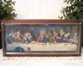 vintage The Last Supper framed religious art print, metal & wood. Catholic decor. 3D dimensional frame. Leonardo da Vinci. Shabby rustic art