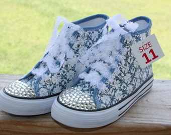 blue lace bling princess high tops shoes size 11 toddler Off brand not converse great for birthday shoes