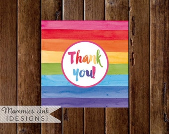 Rainbow Watercolor Favor Tag, Thank You Tag, Thank You Favor Tags, Art Party Favor Tag, Painting Party Favor Tag, PRINTABLE DESIGNS