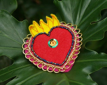 Beaded Felt Sacred Heart Brooch/Clip