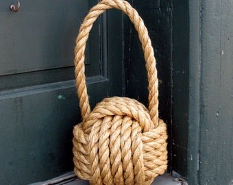 "Large Nautical Manila Monkey Fist Door Stop 5/8"" Manila Rope"