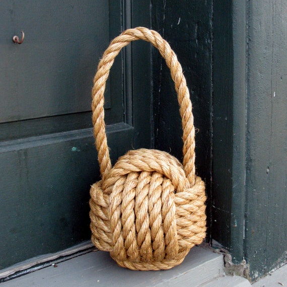 Large nautical manila monkey fist door stop 5 8 manila for Large nautical rope
