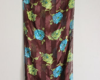 FREE SHIPPING Vintage Oblong Brown Blue Flower Silk Scarf     made in Italy