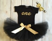 Black and Gold Birthday Dress Tutu Outfit for Baby Girls, Toddler Girls, 1st Birthday Dress, Cake Smash Tutus, Cakesmash