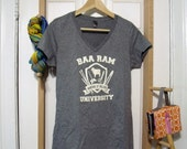 Baa Ram University V-Neck Shirt Sizes: Small through 5X - Fiber Arts, Knitting, Weaving, Crochet, Spinning