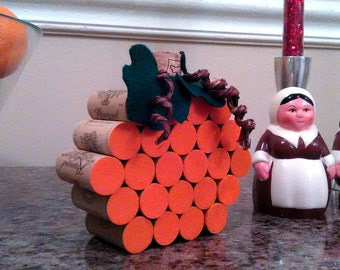 Cork Pumpkin table decor Thanksgiving Halloween Autumn - synthetic cork