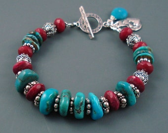 Ruby and Turquoise Bracelet, Natural Ruby and Real Arizona Turquoise with Sterling Silver Ornate Beads and Spacers. Chunky Gemstone Bracelet