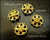 SET of 4 Bali 24kt Vermeil Ornate Flower Links, 9mm, artisan-made jewelry supplies, bridal accessories, earrings, necklace
