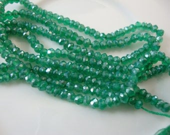 Green Onyx Silvery Coated 3.5 mm Rondelles 6.5 Inch