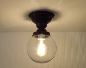 Semi-Flush CEILING LIGHT with Clear Globe