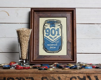 901 Memphis Brew - Block Print