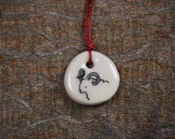 handmade ceramic zodiac pendant: Aries (March 21-April 20) by kata golda