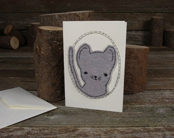 hand-stitched wool felt letterpress card: mouse by kata golda