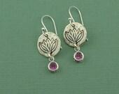 Yoga Birthstone Earrings - sterling silver dangle earrings, silver lotus flower earrings, handmade