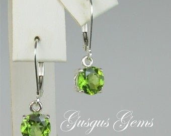 Peridot Sterling Silver Leverback Earrings 7mm 2.70ctw Natural Untreated