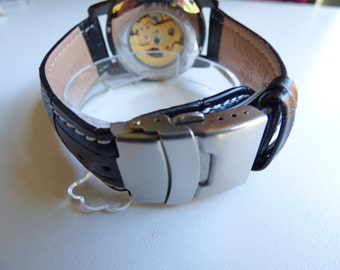 Watch Band Clasp for leather bands - Tri Fold Push button, 20mm, Stainless Steel, (listing is for one clasp)