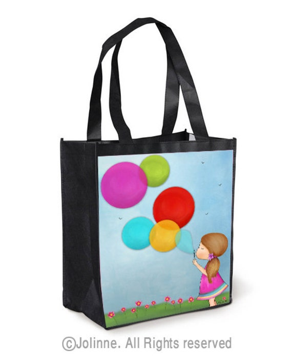 Colorful Tote Bag , grocery bag, beach bag, totes, art totes, girl with balloons