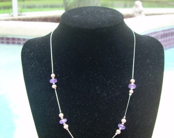 "Vintage Hand crafted designer 17"" 925 SS necklace with Genuine Pink Pearls and Amethyst Faceted stones"