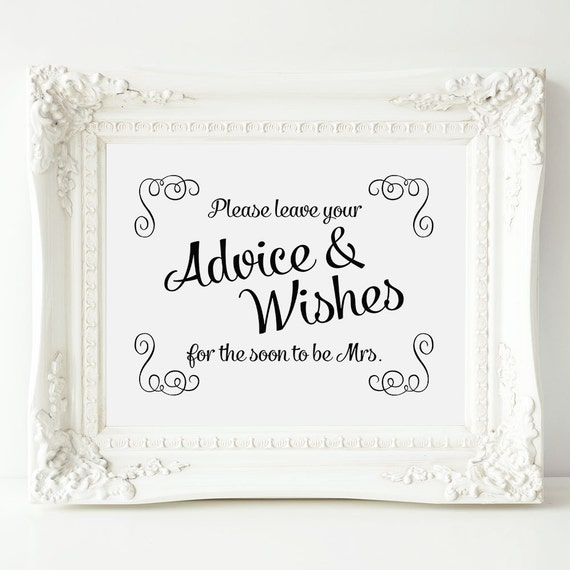 Bridal Shower Advice Sign Swirls Well Wishes For By