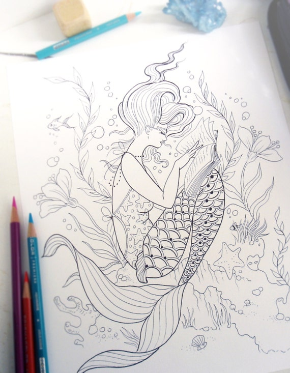 Reading mermaid coloring page instant download print your Mermaid coloring book for adults
