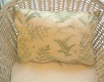 Large Hand Made  Botanical Print Decorative Pillow-Ferns, Feathers, Bees, Dragon Flies-Green on Taupe-Envelope Tie