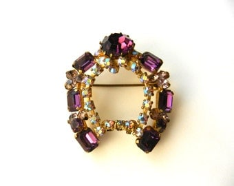 Horseshoe Brooch -vintage 1950 brings good luck in beautiful light purple and crystal AB-Art.668/2--
