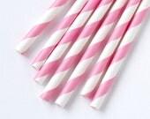 50 Pink Striped Straws - Pink and White Striped Paper Straws - Birthday, Baby Shower Decor