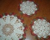 Fall Autumn Doilies Set of 3 Hand crocheted